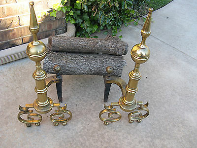 "Vintage Brass Fireplace Andirons Harvin Company 24"" Tall"
