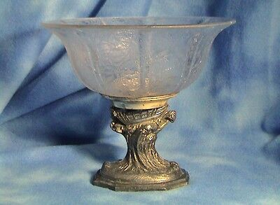 Antique Glue Chip Glass Bowl with Spelter Metal Pedistal - Circa 1927 (272)
