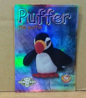 TY Beanie Baby Card Puffer Green Series  2 Retired New Mint