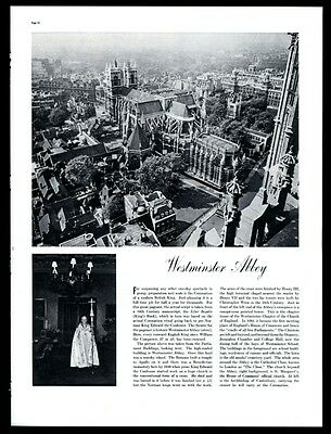 1937 Westminster Abbey 10 photo BIG diagram coronation vintage print article