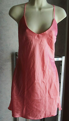 Victorias Secret solid coral pink satin chemise cut out back thin adj straps S