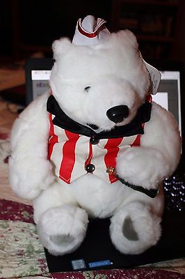 COCA-COLA Bear 1999 with tags in style soda fountain clerk hat & vest & bottle