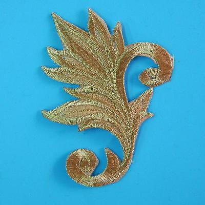 Rose Flower Iron on Sew Collar Patch Applique Badge Embroidered Bust Swirl Gold.