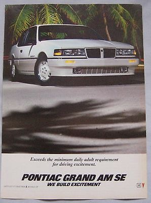 1986 Pontiac Grand AM SE Original advert