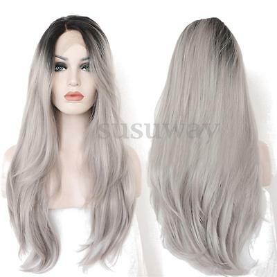 "22"" 24"" Heat Resistant Lace Front Wig Synthetic Ombre Full Long Grey Hair Wigs"