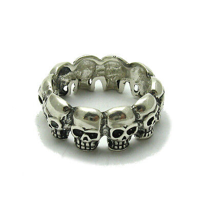 Sterling Silver Ring Solid 925 Skulls Band  R001614