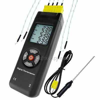 Digital Thermometer 4 Channel Type-K Metal & Bead Probe Thermocouples Instrument