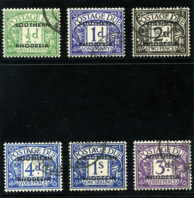 Southern Rhodesia 1951 KGVI Due set complete VF used. SG D1-D5, D7. Sc J1-J6.