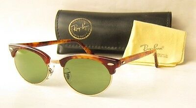 EXC VINTAGE 80s B&L RAY BAN USA CLUBMASTER BLONDE TORTOISE OVAL SUNGLASSES W1265