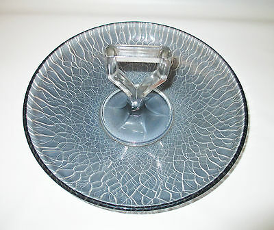 Imperial Stretch Glass Blue Ice Smoke Handled Fruit Bowl 6641 Satin Iridescent