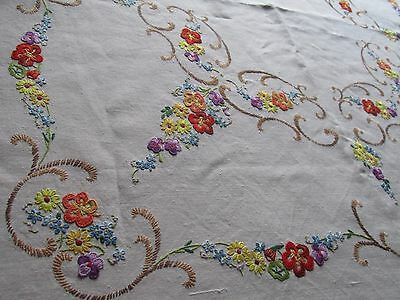 Vintage Hand Embroidered Tablecloth, BEAUTIFUL FLORAL DESIGN ,HAND CROCHET LACE