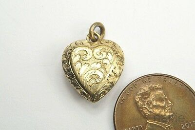 Antique Late Victorian English Gold Heart Shaped Locket Charm / Pendant