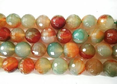 UKcheapest-10p huge red green agate round faceted 14 16mm gemstone beads
