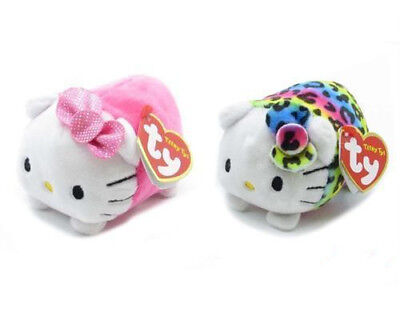 Ty Teeny Hello Kitty Set Of 2 Plush Soft Toys Pink And Multi Leopard Print