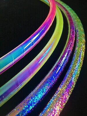 "Rainbow Dragon 30""/32""/34"" Travel Polypro HULA HOOP -Iridescent Tape Collapsible"