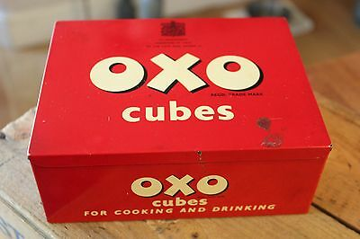 Vintage Traditional Rectangular Red Oxo Cubes Storage Tin – Great! –