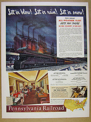 1941 PRR Pennsylvania Railroad streamlined locomotive pullman lounge vintage Ad