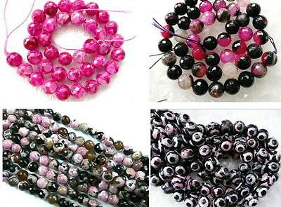 clearance-pink dragonvein fire tibet Agate round faceted 8 10mm gemstone beads