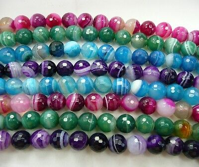 UKcheapest-Pink Green Blue Purple Striped Agate faceted round 8mm Gemstone beads