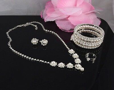 4 Piece Cream Faux Pearl & Diamante Crystal Necklace Earring Bracelet Ring Set
