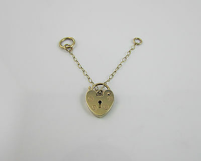 9 ct Yellow Gold 375 Opening Padlock Clasp with salty chain Hallmarked 1990