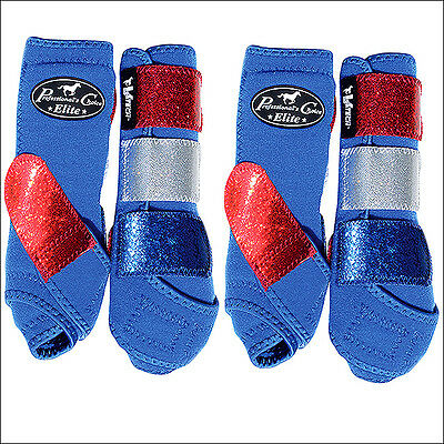 Sml Professional Choice Sports Medicine Horse Leg Boots 4 Pack Glitter Blue Red