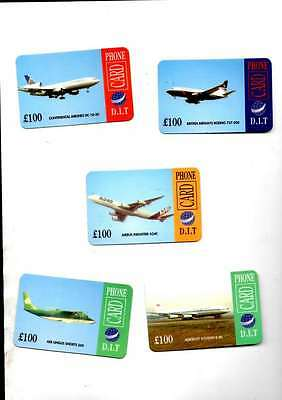 5 D.i.t  £100 Phone Cards Showing Various Airlines Mint Unused
