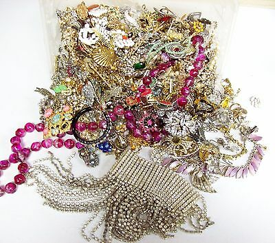 10 Pounds of Mostly Vintage RHINESTONE Jewelry for Harvesting Repair Crafts