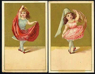 Little FRENCH GIRLS DANCING Victorian - 2 Cards with Gold 1880's