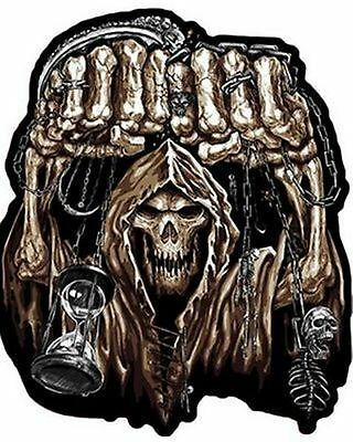 HUGE FIST SKULL Biker Quality MC Club NEW Embroidered LARGE BACK Patch LRG-0459