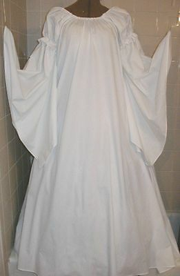 Renaissance Fantasy Pure White Chemise Puff Shoulder & Long Sleeve Costume Gown