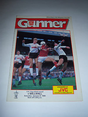 ARSENAL v MILLWALL 1987/88 - FA CUP 3RD ROUND - FOOTBALL PROGRAMME