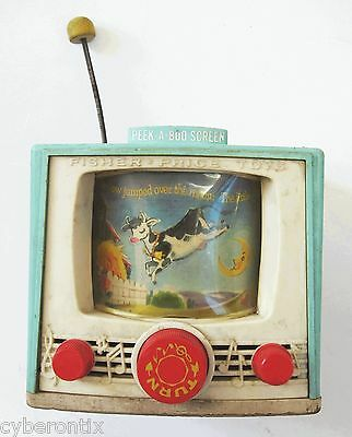 Fisher Price Tuner TV Peek-a-Boo Screen Wood Plastic 1969 Vintage 1960s 60s