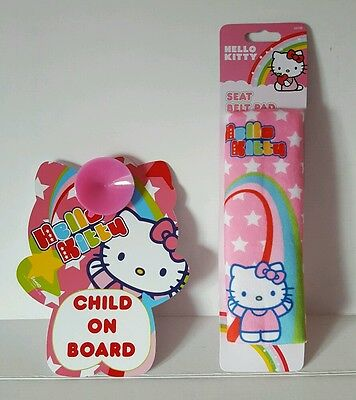 NEW Hello Kitty Baby Car Safety Seat Belt Cover Pink & Child on Board Sign Gift