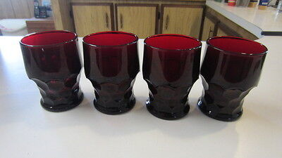 4) Vintage Ruby Red Viking Georgian / Honey Comb Drinking Glasses, 4 1/4 inch