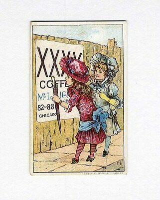 McLAUGHLIN'S XXXX COFFEE Trade Card 1880's - Victorian Girls Reading Sign