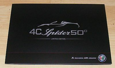 Alfa Romeo 4C Spider 50 Limited Edition Brochure 2016