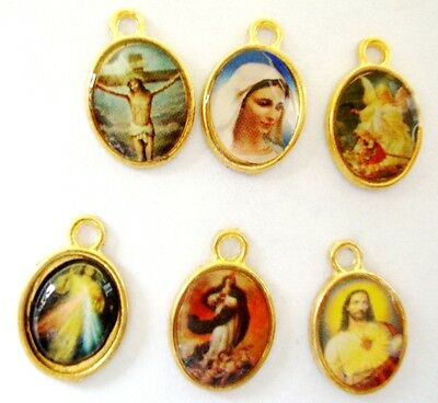 Lot of 6 x Small Vintage Coloured Picture Catholic Medal or Pendant