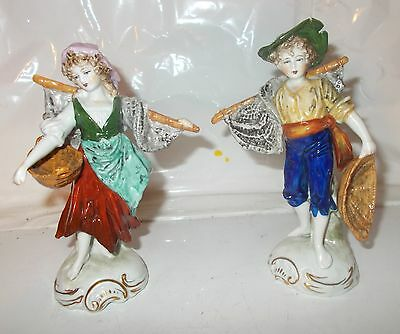 SITZENDORF PORCELAIN FIGURINES x 2 - COUNTRY GIRL & BOY - MATCHING PAIR