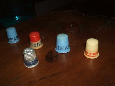 5 Old Vintage Advertising Sewing Thimbles Beam White House Coffee Cleaners More