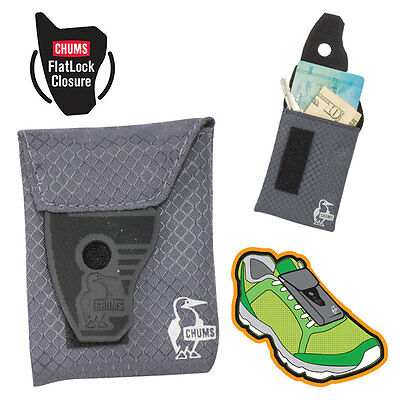 CHUMS shoe wallet pouch keys money card running jogging walking GRAY BLACK 14020