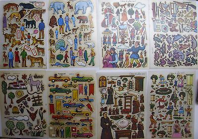 Rare LOT 8 VINTAGE Tranfer/Stickers Style KALKITOS Car/Animal/ Kingdom and Other