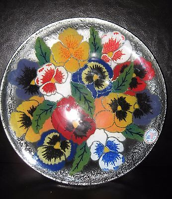 Peggy Karr modern contemporary studio art glass bowl dish plate Pansies signed