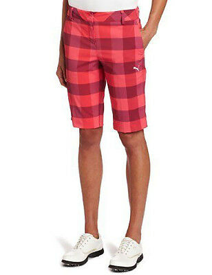 New Lady Puma Golf Plaid Tech Shorts Rouge Red Size 2 Womens