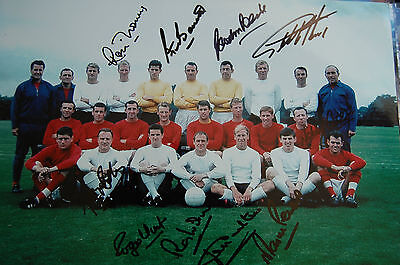 1966 World Cup England Squad 12X8 Photo Signed By 10