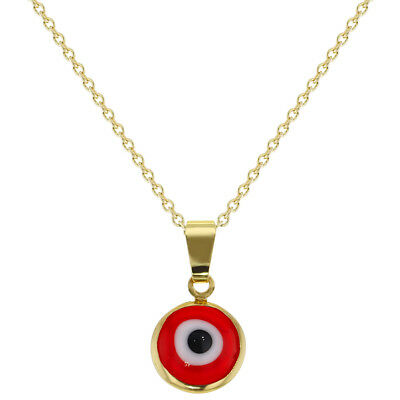 18k Gold Plated Protection Red Evil Eye Pendant Necklace Amulet Ladies 19""