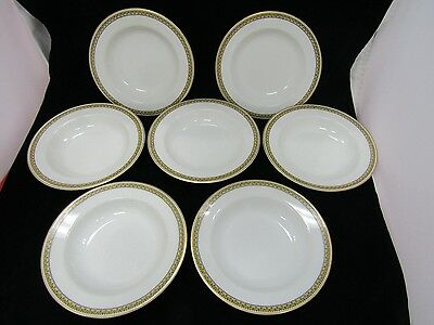 "Haviland France 7 3/4"" Cereal Bowls W/ Floral Yellow Trim Set of 6"
