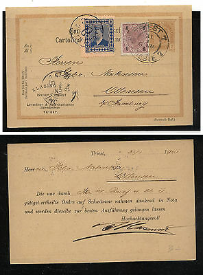 Austria  uprated postal card with tied label  to  Germany 1900         KL0313