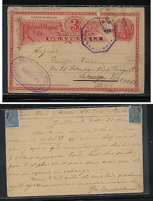 Guatemala postal card to  Italy  1898  3 cent red card      FA0814