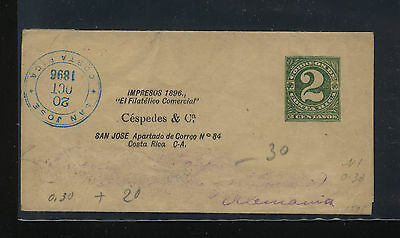 Costa  Rica stamp publication wrapper to Germany 1896           FA0814